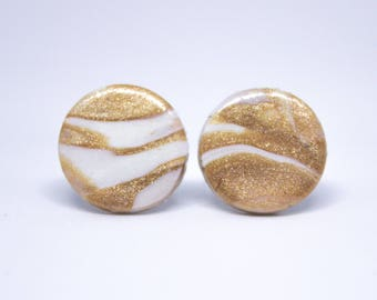 Rose Gold / Copper Marbled Stud Earrings   Polymer Clay   Birthday, Anniversary, Mother's Day