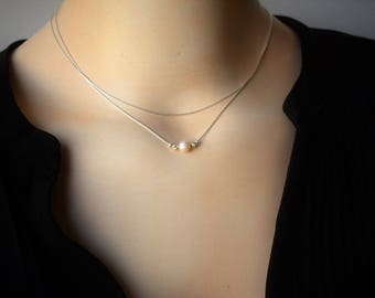 Pearl Layer Necklace,Silver Pearl Necklace,Silver Lariat  Necklace,Delicate Silver necklace,Pearl Silver Necklace,Layering Necklace,Set of 2