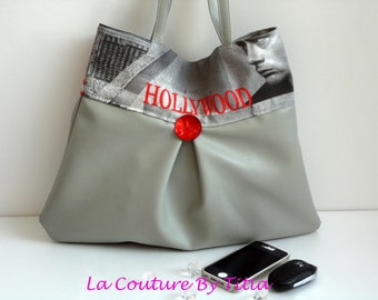 "Faux leather grey ""Hollywood"" hand made accessories woman fashion handbag"