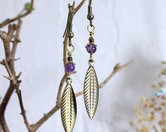 Amethyst and bronze leaf earrings