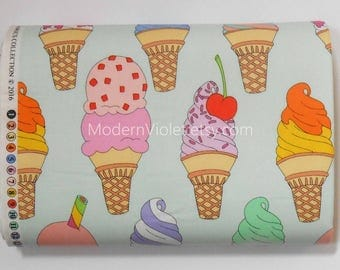 Soft Serve in Mint Green by De Leon Design Alexander Henry Fabric, Ice Cream Cone Sprinkles Cherry on Top, Sold by the Half Yard BTHY