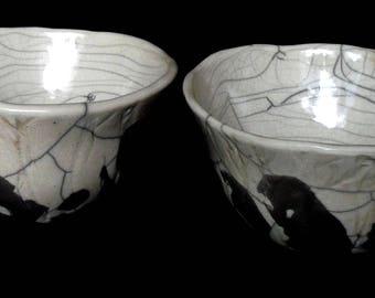 Two raku bowls , ceramic , chawans