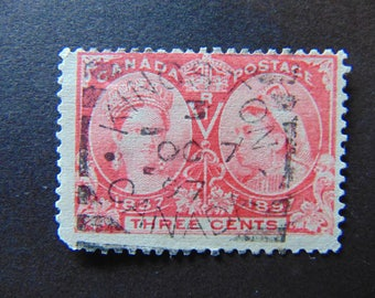 """Canada # 53 Stamp from 1897 Post Mark """"Kingston,Canada 1897.Used (C24)"""