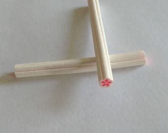 x 2 white flower Fimo cane and pink 5 cm