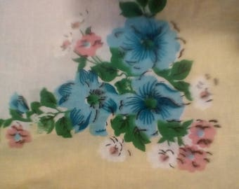 set of gorgeous vintage handkerchiefs, yellow trim with blue pink and white flowers