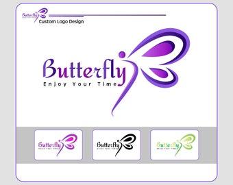 CUSTOM LOGO DESIGN, Logos, Logo Design, Custom Illustration Logo, Custom Logo Clipart, Cipart Logo Design , Butterfly Logo Design
