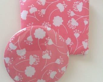 Pocket mirror and pretty fabric pouch pink with flowers