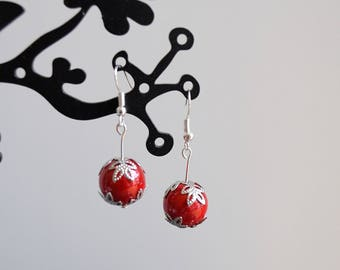 Magical red Pearl Earrings