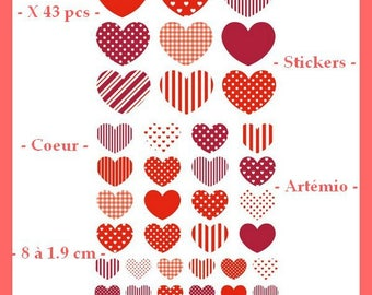 Stickers hearts - red - 43 pcs - Artemio - 8 to 1.9 cm - new
