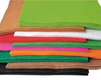 Maxi set of felt - 50 sheets of 20 x 30 cm - in 10 different colors.