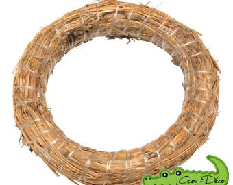 Straw wreath design - 20 cm in diameter, floral decoration, table centerpiece, new