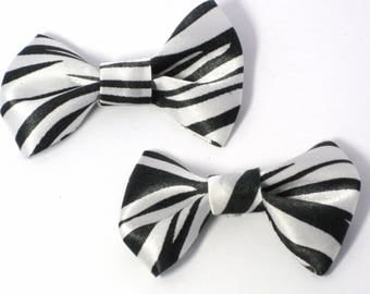 "Lot mix of 2 ""Zebra"" print fabric bow"