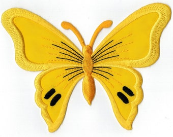 Large iron or sew 13 x 9.5 cm yellow cardboard Butterfly badge Applique Patch
