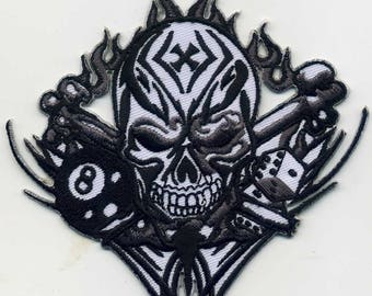 SKULL/Malta 8 Biker embroidered patch iron or sew on 11 x 11cm. Patch applique