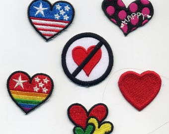 6 badges heart embroidered by thermo - glue or sewing 3.5 and 4 cm. Small love heart Patch applique