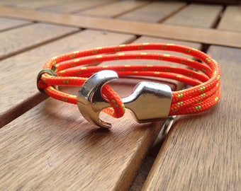 Orange bracelet rope and anchor unisex free shipping in France
