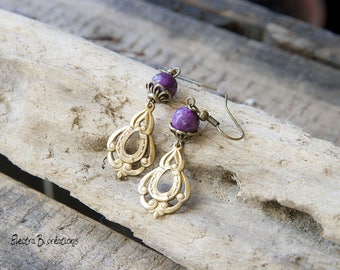 Earrings Baroque violet jade and raw brass print