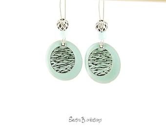 Zebra earrings blue enamel mint and silver sequins
