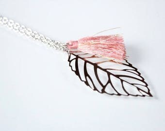 LEAF necklace and pink and gold yarn tassel necklace