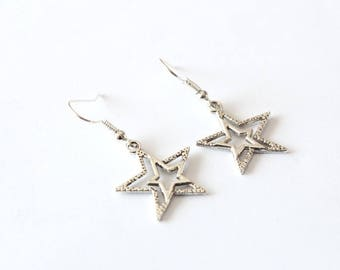 DOUBLE silver stars earrings