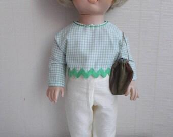 38-40 cm (ref 49) doll clothes: pants + shirt + bag