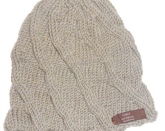 Knitted hat beige from 100% virgin wool (merino), for head circumference approx. 54 cm
