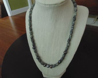 Cultivated Pearl and Jasper Necklace