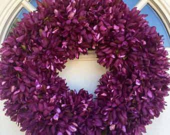 Purple Mum Chrysanthemum Wreath