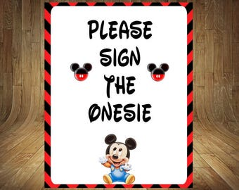 Mickey Mouse Onezee, Mickey Mouse Sign The Diaper, Mickey Mouse Baby Shower,  Mickey