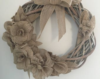 Wicker Wreath, Shabby Chic, home decoration, Rustic.