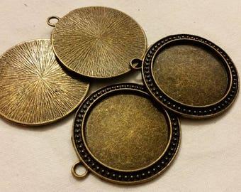 10 support cabochon pendant 30mm brass bronze
