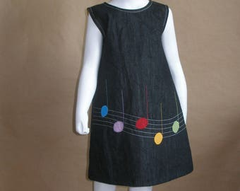 Fassila - 3 years old dress, black denim, lined