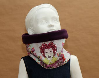 Snood - Scarf in purple cotton fleece
