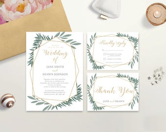 Wedding Invitation Set, Fall, RSVP Card, Thank You Card, Printable, Wedding Suite, Typography, Calligraphy