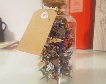 Medium Jar of Superman Comic Origami Cranes