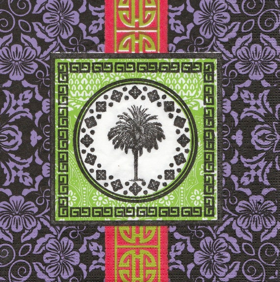 390 Asia - Palm tree pattern 4 X 1 lunch size paper towel