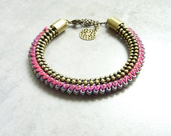 Bronze Boreal purple woven bracelet