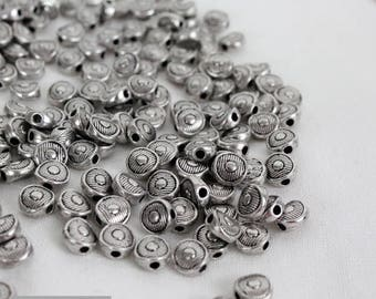 set of 20 round beads 6 mm silver
