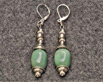 Vintage Style Jade Nugget Dangle Earrings