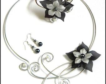 satin Céline gray White Pearl silver foil wedding silk flower bridal set