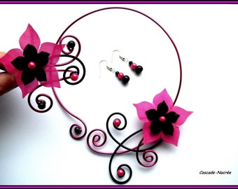 aluminum Céline aluminum Pearl wedding bridal black fuschia satin flower set