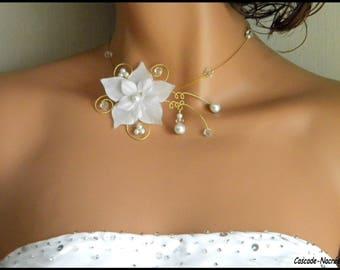 Bridal flower JULINE gold white Crystal swarovski Pearl bridal necklace