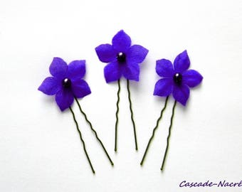 set of 3 dark purple hair flowers bridal silk silver Pearl wedding jewelry