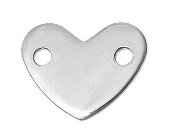 Customize heart insert, 2 holes 14 mm engraved steel