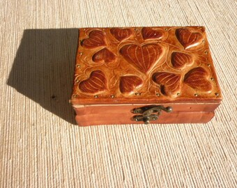 tooled leather covered wooden casket box