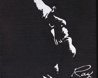 Acrylic paint in black and white - Ray Charles