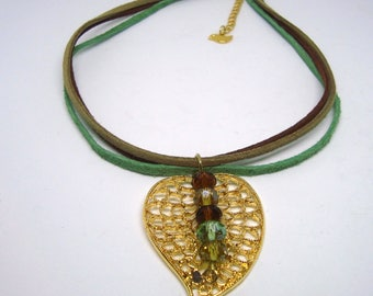 Gold leaf necklace - Nature Inspired Necklace - Green, taupe and green beads