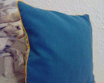 Teal pillow cover mustard ethnic style