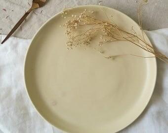 Stone dinner plate - satin matt cream plate - hand made pottery - large plate - stoneware - hand thrown plate - tableware - dinnerset