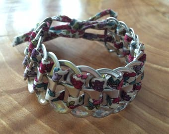 Bracelet made of strips of cans and fabric liberty Frou Frou 2